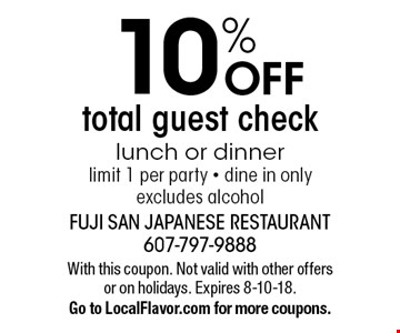 10% OFF total guest check, lunch or dinner, limit 1 per party - dine in only, excludes alcohol. With this coupon. Not valid with other offers or on holidays. Expires 8-10-18. Go to LocalFlavor.com for more coupons.