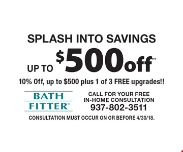 SPLASH INTO SAVINGS. Up to $500 off** 10% Off, up to $500 plus 1 of 3 FREE upgrades!!. Consultation must occur on or before 4/30/18.