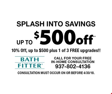 SPLASH INTO SAVINGS Up to $500 off** 10% Off, up to $500 plus 1 of 3 FREE upgrades!!. Consultation must occur on or before 4/30/18.