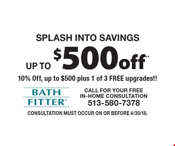 Splash into savings! Up to $500 off** 10% Off, up to $500 plus 1 of 3 FREE upgrades!! Consultation must occur on or before 4/30/18.