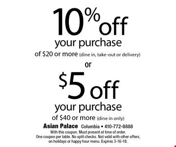 10% off your purchase of $20 or more (dine in, take-out or delivery) OR $5 off your purchase off $40 or more (dine in only) . With this coupon. Must present at time of order. One coupon per table. No split checks. Not valid with other offers, on holidays or happy hour menu. Expires 3-16-18.