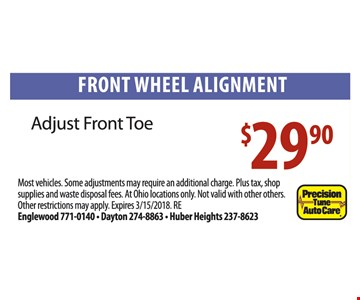 Front wheel alignment for $29.90.