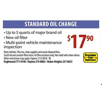 Oil change for $17.90.
