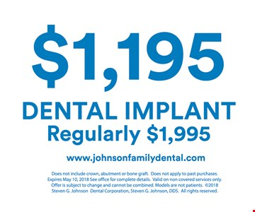 $1,195 for dental implant