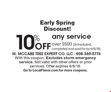 Early Spring Discount! 10% Off any service over $500 (Scheduled, completed and paid for by 6/8/18). With this coupon. Excludes storm emergency service. Not valid with other offers or prior services. Offer expires 6/8/18. Go to LocalFlavor.com for more coupons.