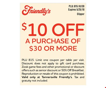 $10 off your purchase of $30 or more