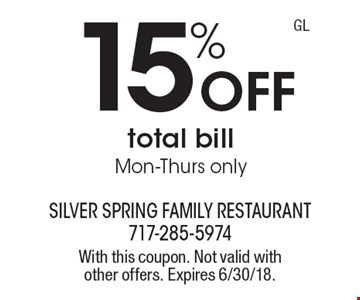 15% off total bill, Mon-Thurs only. With this coupon. Not valid with other offers. Expires 6/30/18.