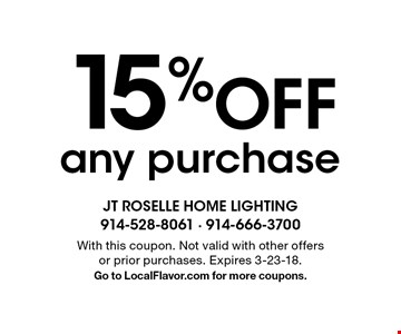 15% Off any purchase . With this coupon. Not valid with other offers or prior purchases. Expires 3-23-18.Go to LocalFlavor.com for more coupons.