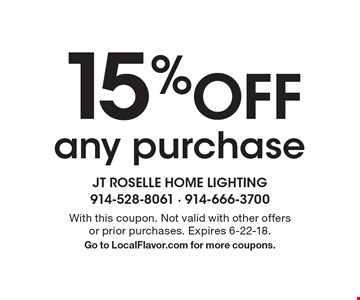 15% Off any purchase. With this coupon. Not valid with other offers or prior purchases. Expires 6-22-18. Go to LocalFlavor.com for more coupons.