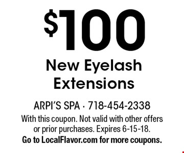 $100 New Eyelash Extensions. With this coupon. Not valid with other offers or prior purchases. Expires 6-15-18. Go to LocalFlavor.com for more coupons.
