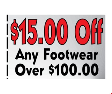 $15 off any footwear over $100