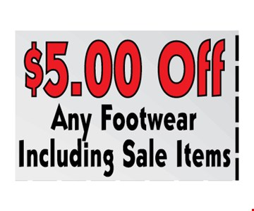 $5 off any footwear including sale items