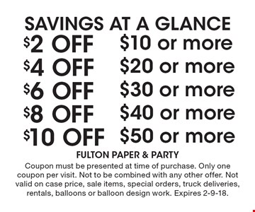 SAVINGS AT A GLANCE $10 Off $50 or more. $8 Off $40 or more. $6 Off $30 or more. $4 Off $20 or more. $2 Off $10 or more. . Coupon must be presented at time of purchase. Only one coupon per visit. Not to be combined with any other offer. Not valid on case price, sale items, special orders, truck deliveries, rentals, balloons or balloon design work. Expires 2-9-18.