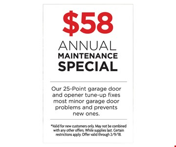 $58 annual maintenance special