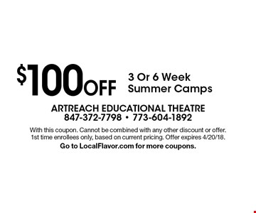 $100 Off 3 Or 6 Week Summer Camps. With this coupon. Cannot be combined with any other discount or offer. 1st time enrollees only, based on current pricing. Offer expires 4/20/18. Go to LocalFlavor.com for more coupons.