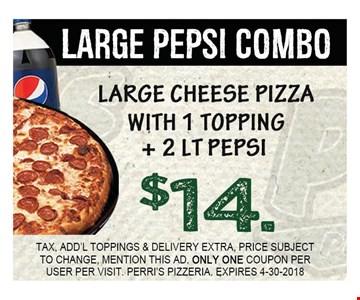 large pepsi combo $14