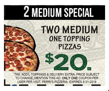 TAX, Add'l Toppings & DELIVERY EXTRA, PRICE SUBJECT TO CHANGE, MENTION THIS AD. ONLY ONE COUPON PER USER PER VISIT. PERRI'S PIZZERIA. EXPIRES 8/31/18
