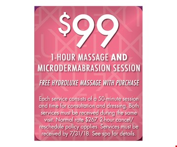 $99 1-hour massage and microdermabrasion session