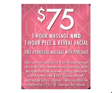 $75 1-hour massage and 1-hour peel and reveal facial