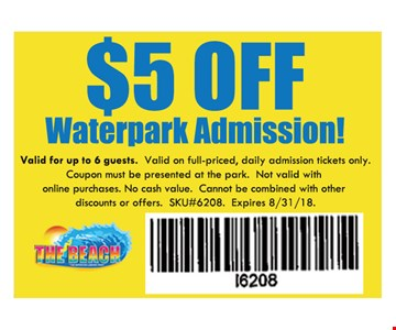 Valid for up to 6 guests. Valid on full -priced, daily admission tickets only. Coupon must be presented at the park. Not valid with online purchases. No cash value. Cannot be combined with other discounts or offers.