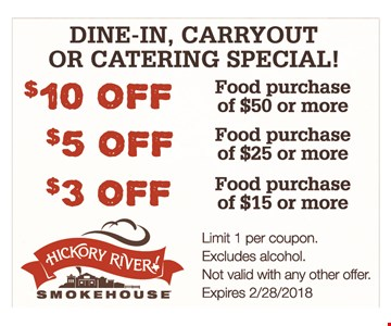 $10 Off Food purchase of $50 or more, $5 Off Food purchase of $25 or more and $3 Off food purchase of $15 or more