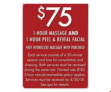 $75 1-Hour Massage & 1-Hour Peel & Reveal Facial