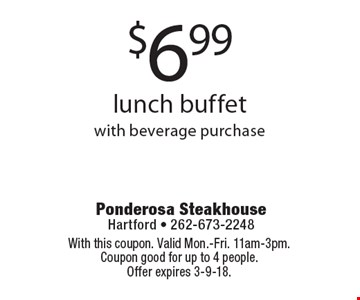$6.99 lunch buffet with beverage purchase. With this coupon. Valid Mon.-Fri. 11am-3pm. Coupon good for up to 4 people. Offer expires 3-9-18.