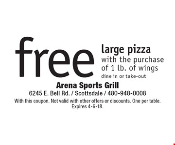 free large pizza with the purchase of 1 lb. of wings dine in or take-out. With this coupon. Not valid with other offers or discounts. One per table.