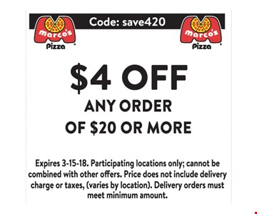 $4 Off Any Order of $20 or more