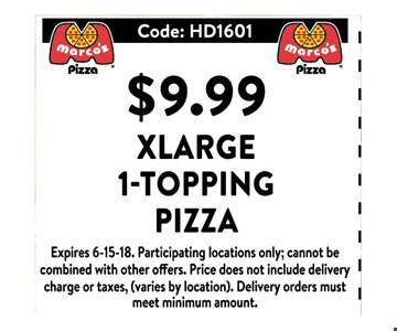 $9.99 XLarge 1-Topping Pizza
