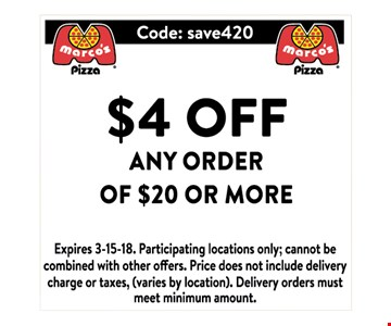 $4 Off any purchase of $20 or more.