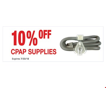 10% Off CPAP Supplies. Not Valid With Other Offers. Must Present Ad For Discount Price. Pricing May Not Be For Exact Model Shown. Some Items Not Available For Insurance Billing.