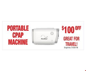 $100 off portable CPAP machine