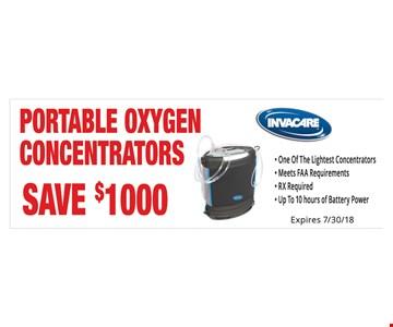 $100 off portable oxygen concentrators