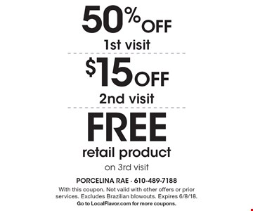 50% Off 1st visit. $15 Off 2nd visit. FREE retail product on 3rd visit. With this coupon. Not valid with other offers or prior services. Excludes Brazilian blowouts. Expires 6/8/18. Go to LocalFlavor.com for more coupons.
