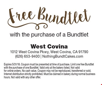 Free Bundtlet with the purchase of a bundtlet. Expires 5/31/18. Coupon must be presented at time of purchase. Limit one free Bundtletwith the purchase of one Bundtlet. Valid only at the bakery listed. Not valid for online orders. No cash value. Coupon may not be reproduced, transferred or sold. Internet distribution strictly prohibited. Must be claimed in bakery during normal business hours. Not valid with any other offer.