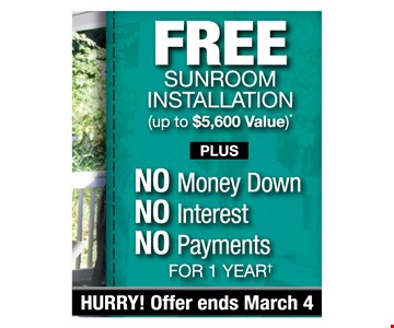 Free Sunroom Installation