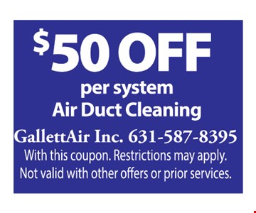$50 off per system air duct cleaning
