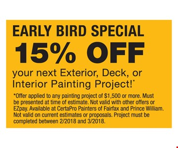 15% off your next exterior, deck or interior painting project!