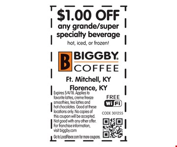 $1 Off any grande/super specialty beverage hot, iced or frozen! Expires 5/4/18. Applies to favorite lattes, creme freeze smoothies, tea lattes and hot chocolates. Good at these locations only. No copies of this coupon will be accepted. Not good with any other offer. For franchise information,visit biggby.com. Go to LocalFlavor.com for more coupons.