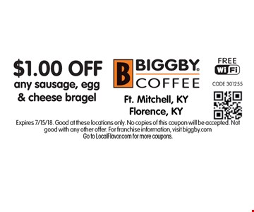 $1.00 Off any sausage, egg & cheese bragel. Expires 7/15/18. Good at these locations only. No copies of this coupon will be accepted. Not good with any other offer. For franchise information, visit biggby.comGo to LocalFlavor.com for more coupons.