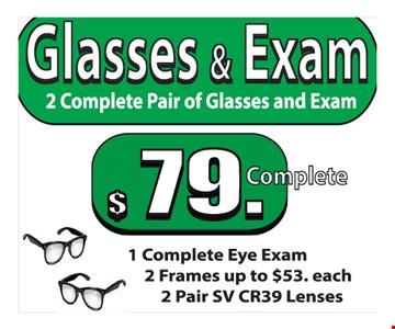 $79 Complete glasses & exam