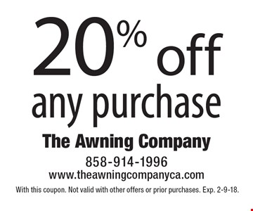 20% off any purchase. With this coupon. Not valid with other offers or prior purchases. Exp. 2-9-18.