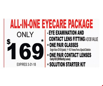 Only $169 All-In-One Eyecare Package