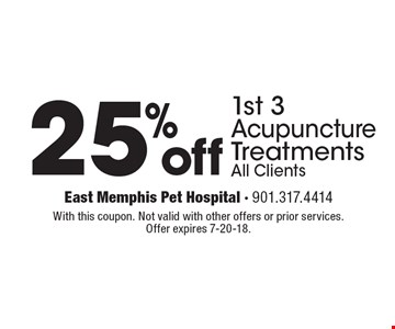 25% off 1st 3 acupuncture treatments, all clients. With this coupon. Not valid with other offers or prior services. Offer expires 7-20-18.