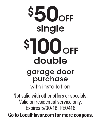 PDQ DOORS $100 off double garage door purchase with installation. $50 off single garage  sc 1 st  Local Flavor & LocalFlavor.com - PDQ DOORS Coupons