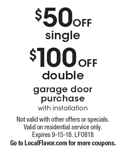 PDQ DOORS: $100 Off Double Garage Door Purchase With Installation. $50 Off  Single Garage