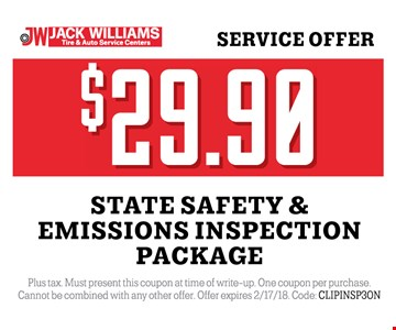 $29.99 state safety and emissions inspection package