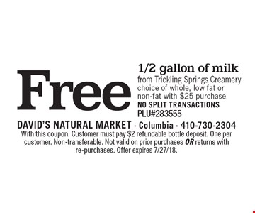 Free 1/2 gallon of milk from trickling springs creamery 