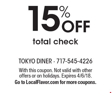 15% Off total check. With this coupon. Not valid with other offers or on holidays. Expires 4/6/18. Go to LocalFlavor.com for more coupons.